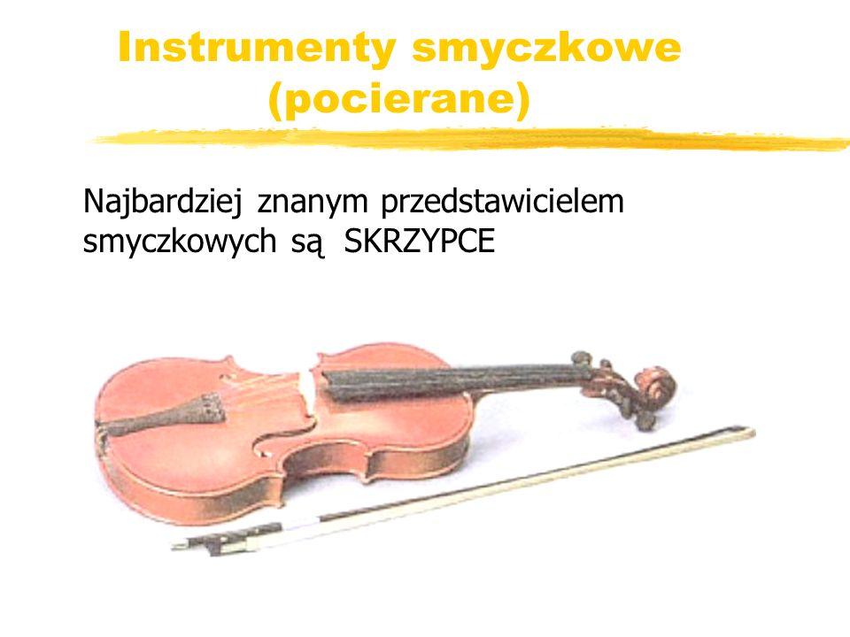 Instrumenty smyczkowe (pocierane) Najbardziej znanym przedstawicielem smyczkowych są SKRZYPCE