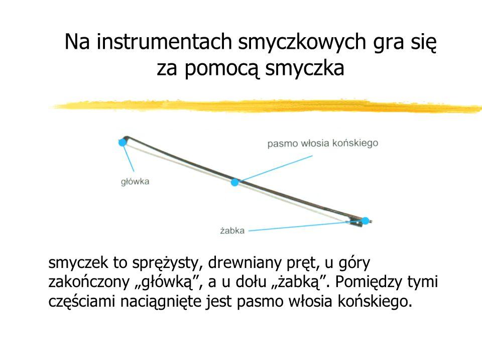 Na instrumentach smyczkowych gra się za pomocą smyczka smyczek to sprężysty, drewniany pręt, u góry zakończony główką, a u dołu żabką. Pomiędzy tymi c