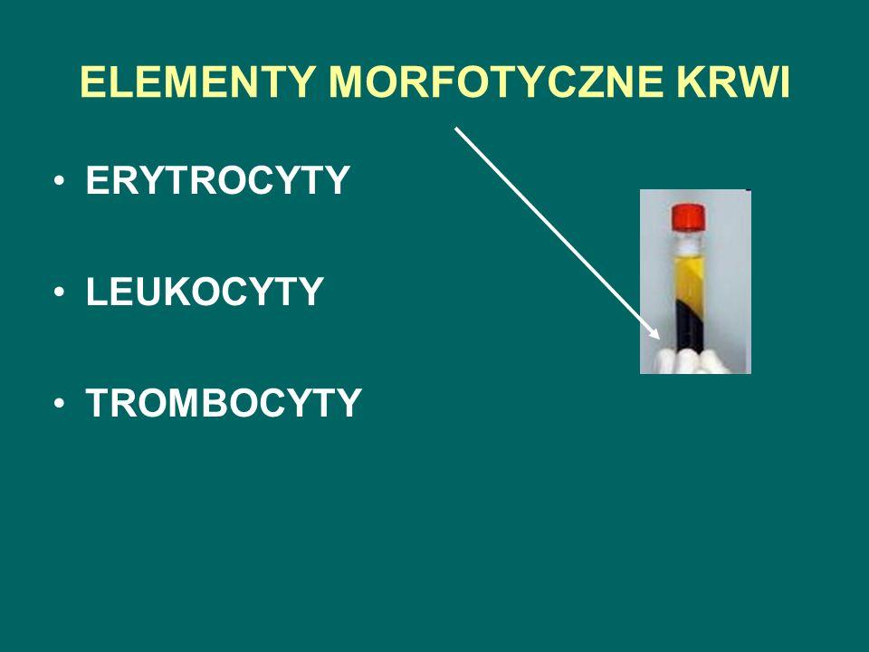 ELEMENTY MORFOTYCZNE KRWI ERYTROCYTY LEUKOCYTY TROMBOCYTY