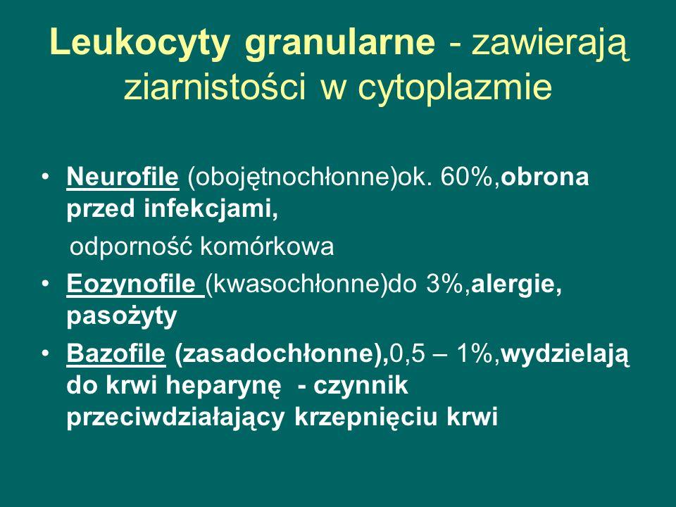 Leukocyty granularne - zawierają ziarnistości w cytoplazmie Neurofile (obojętnochłonne)ok. 60%,obrona przed infekcjami, odporność komórkowa Eozynofile