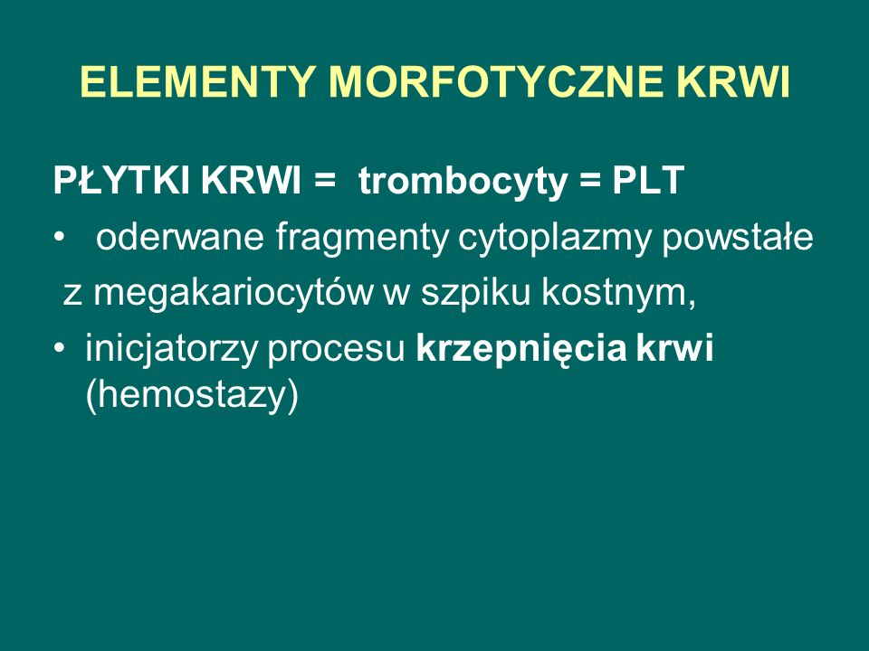 ELEMENTY MORFOTYCZNE KRWI PŁYTKI KRWI = trombocyty = PLT oderwane fragmenty cytoplazmy powstałe z megakariocytów w szpiku kostnym, inicjatorzy procesu krzepnięcia krwi (hemostazy)