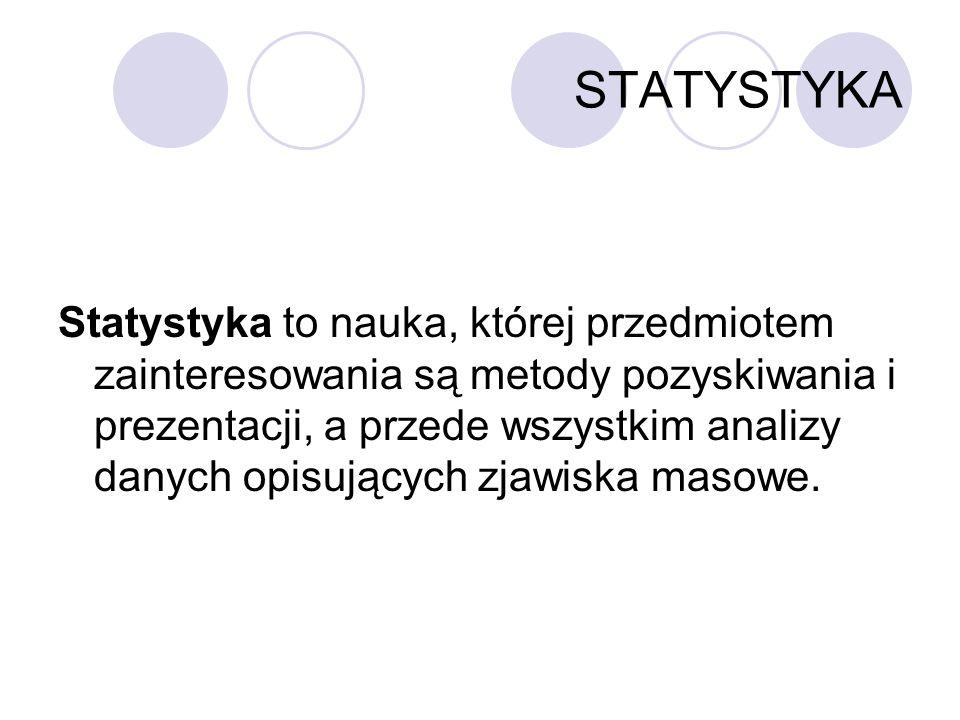 STATYSTYKA Statystyka to nauka, której przedmiotem zainteresowania są metody pozyskiwania i prezentacji, a przede wszystkim analizy danych opisujących