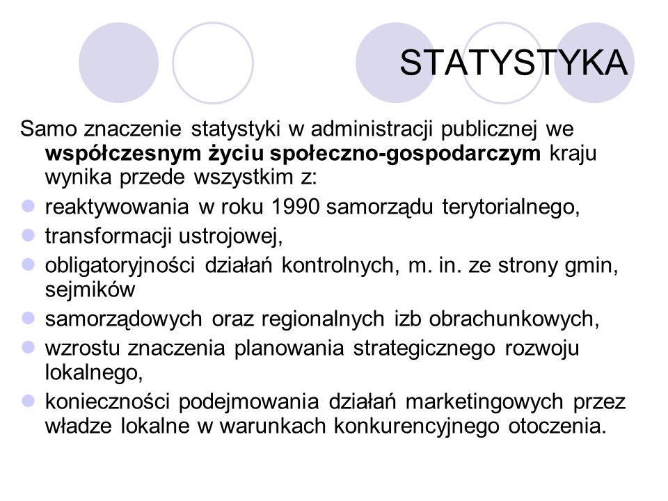 STATYSTYKA Samo znaczenie statystyki w administracji publicznej we współczesnym życiu społeczno-gospodarczym kraju wynika przede wszystkim z: reaktywo