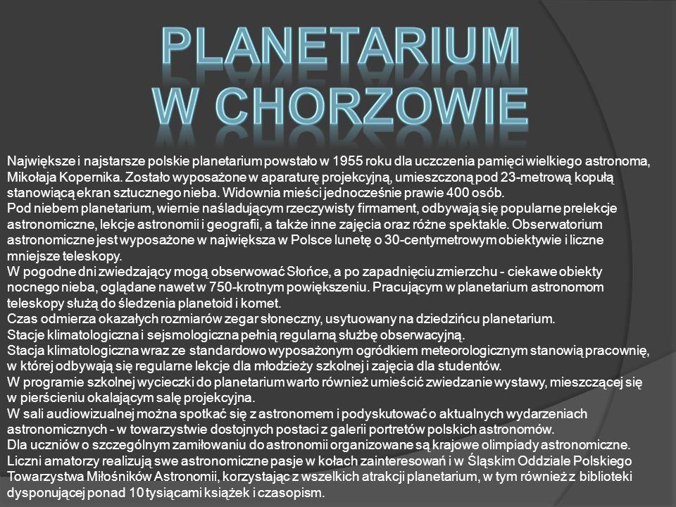 Największe i najstarsze polskie planetarium powstało w 1955 roku dla uczczenia pamięci wielkiego astronoma, Mikołaja Kopernika.