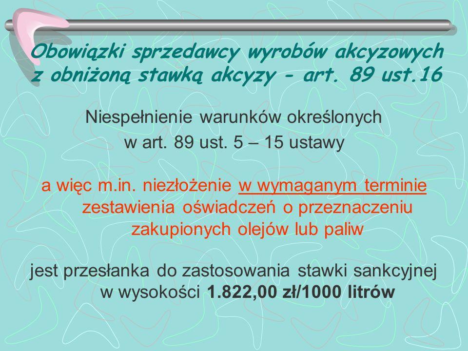 Obowiązki sprzedawcy wyrobów akcyzowych z obniżoną stawką akcyzy - art.