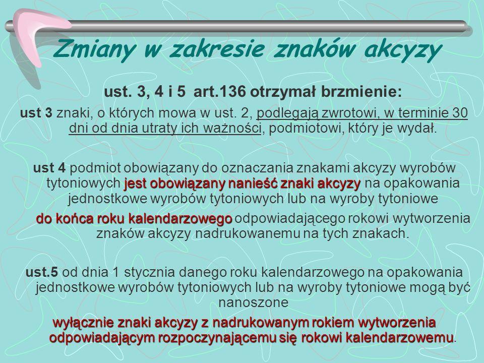 Zmiany w zakresie znaków akcyzy ust. 3, 4 i 5 art.136 otrzymał brzmienie: ust 3 znaki, o których mowa w ust. 2, podlegają zwrotowi, w terminie 30 dni