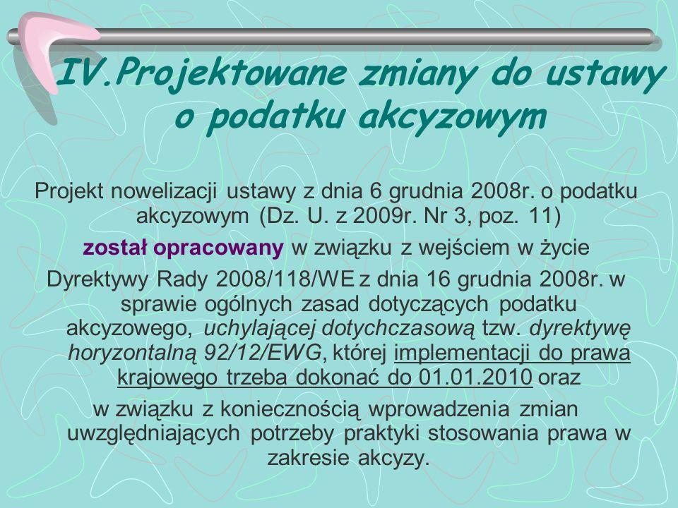 IV.Projektowane zmiany do ustawy o podatku akcyzowym Projekt nowelizacji ustawy z dnia 6 grudnia 2008r. o podatku akcyzowym (Dz. U. z 2009r. Nr 3, poz