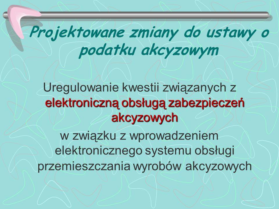 Projektowane zmiany do ustawy o podatku akcyzowym elektroniczną obsługą zabezpieczeń akcyzowych Uregulowanie kwestii związanych z elektroniczną obsługą zabezpieczeń akcyzowych w związku z wprowadzeniem elektronicznego systemu obsługi przemieszczania wyrobów akcyzowych