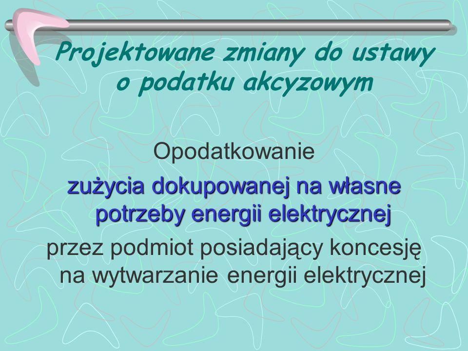 Projektowane zmiany do ustawy o podatku akcyzowym Opodatkowanie zużycia dokupowanej na własne potrzeby energii elektrycznej przez podmiot posiadający
