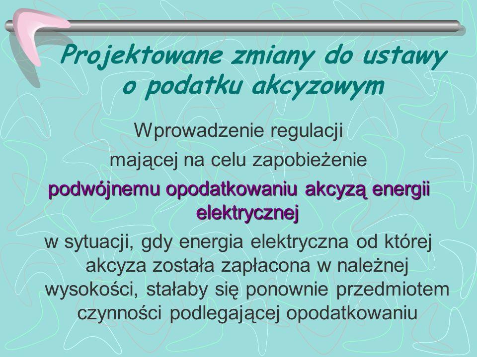 Projektowane zmiany do ustawy o podatku akcyzowym Wprowadzenie regulacji mającej na celu zapobieżenie podwójnemu opodatkowaniu akcyzą energii elektryc