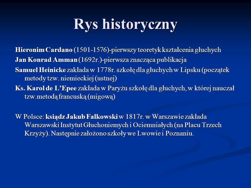Rys historyczny Hieronim Cardano (1501-1576)-pierwszy teoretyk kształcenia głuchych Jan Konrad Amman (1692r.)-pierwsza znacząca publikacja Samuel Hein