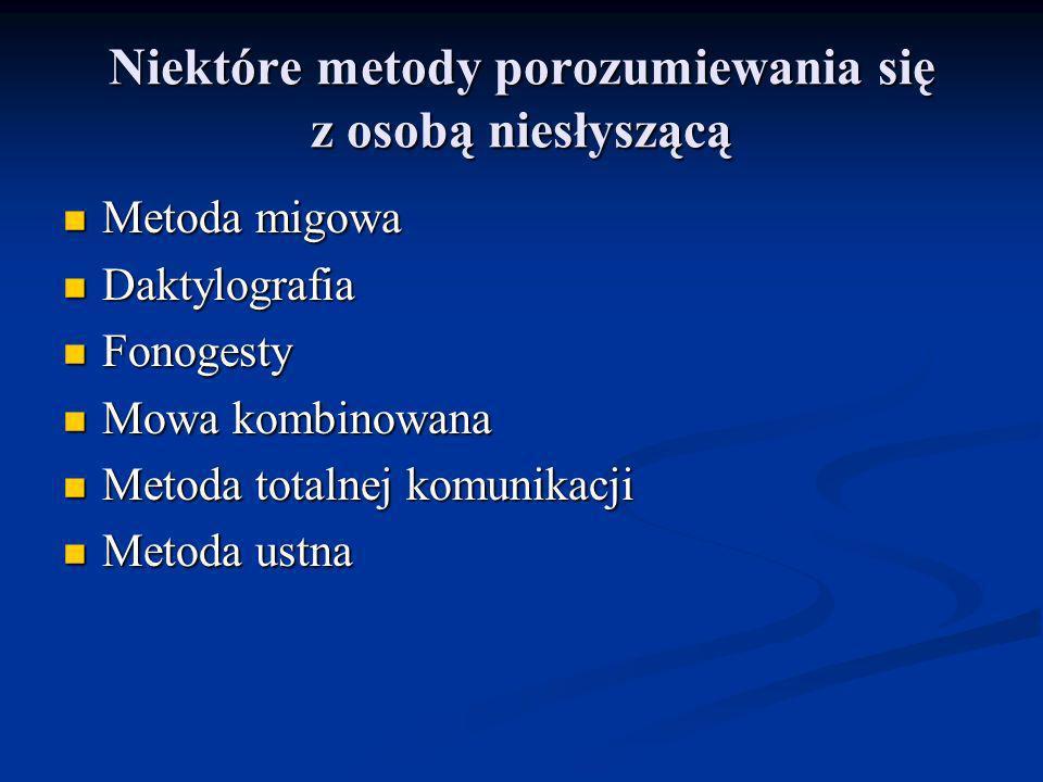 Niektóre metody porozumiewania się z osobą niesłyszącą Metoda migowa Metoda migowa Daktylografia Daktylografia Fonogesty Fonogesty Mowa kombinowana Mo
