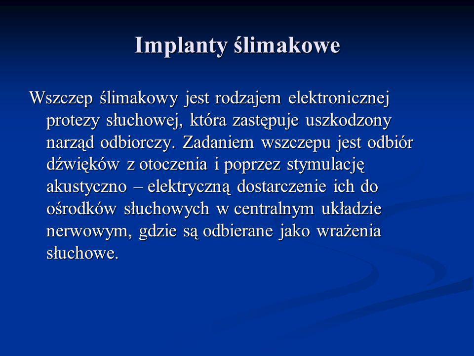 Implanty ślimakowe Wszczep ślimakowy jest rodzajem elektronicznej protezy słuchowej, która zastępuje uszkodzony narząd odbiorczy. Zadaniem wszczepu je