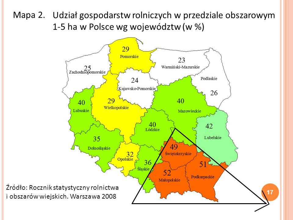 Mapa 2. Udział gospodarstw rolniczych w przedziale obszarowym 1-5 ha w Polsce wg województw (w %) Źródło: Rocznik statystyczny rolnictwa i obszarów wi