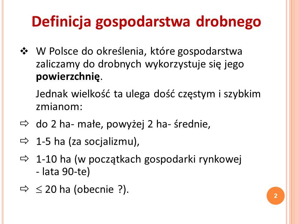 P RZYPADEK P OLSKI bardzo duża liczba gospodarstw drobnych - 2/5 to gospodarstwa samozaopatrzeniowe (2007 r.) - 37% to gosp.