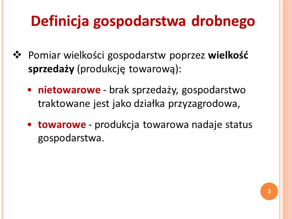 Pomiar w oparciu o wielkość ekonomiczną wyrażoną w ESU* w Polsce: < 2 ESU - nieżywotne ekonomicznie, 2 do 4 ESU zdolne do rozwoju (niskotowarowe), > 4 ESU – żywotne ekonomicznie, > 8 ESU - w obszarze zainteresowań WPR.