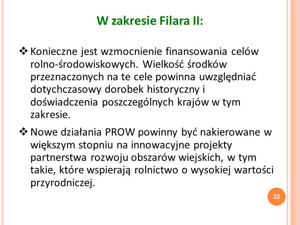 32 W zakresie Filara II: Konieczne jest wzmocnienie finansowania celów rolno-środowiskowych. Wielkość środków przeznaczonych na te cele powinna uwzglę