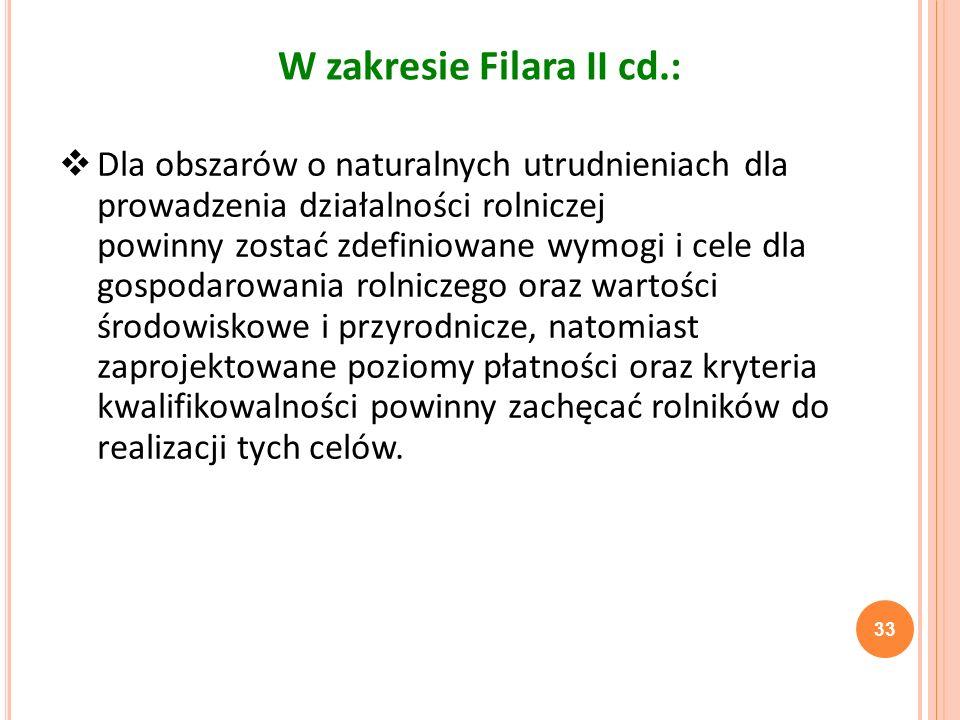 33 W zakresie Filara II cd.: Dla obszarów o naturalnych utrudnieniach dla prowadzenia działalności rolniczej powinny zostać zdefiniowane wymogi i cele