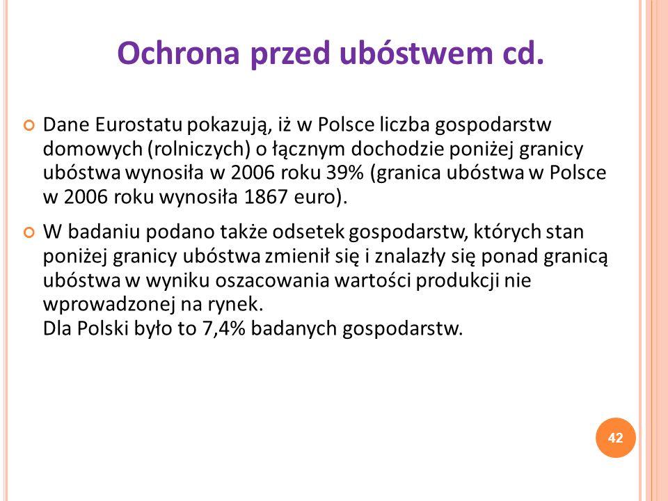 Dane Eurostatu pokazują, iż w Polsce liczba gospodarstw domowych (rolniczych) o łącznym dochodzie poniżej granicy ubóstwa wynosiła w 2006 roku 39% (gr