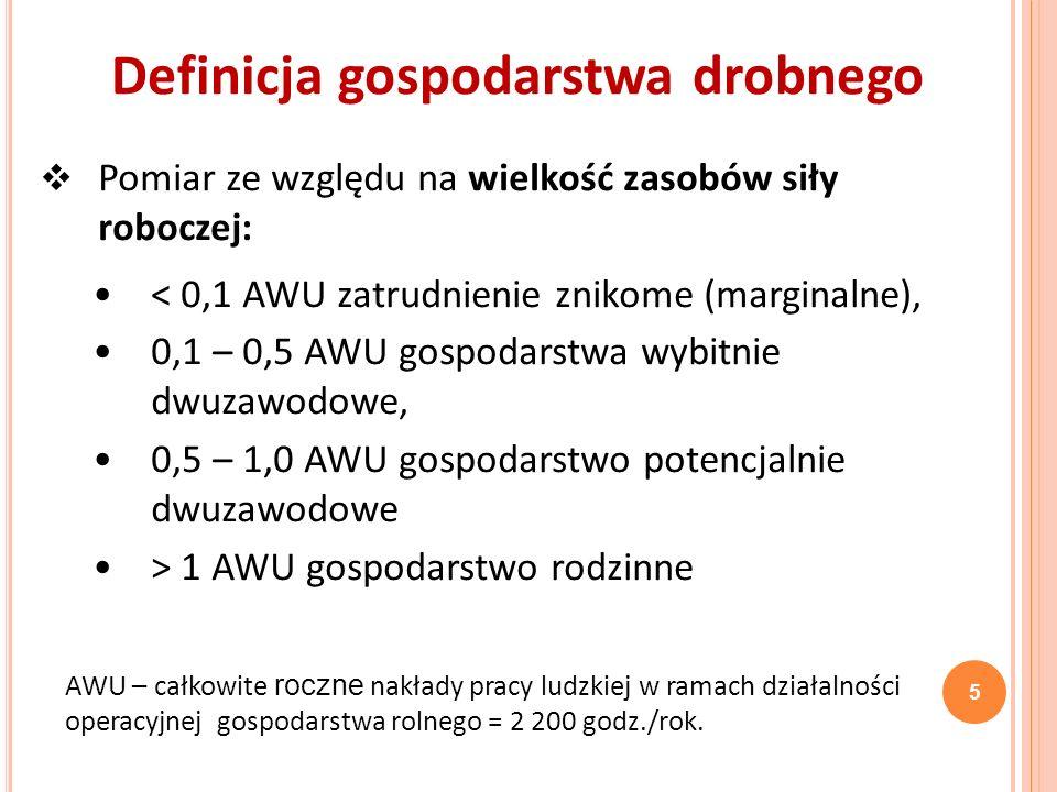 Pomiar ze względu na osiągany poziom dochodu rolniczego na 1 AWU i na gospodarstwo: dysparytetowa, parytetowa, ponadparytetowa.