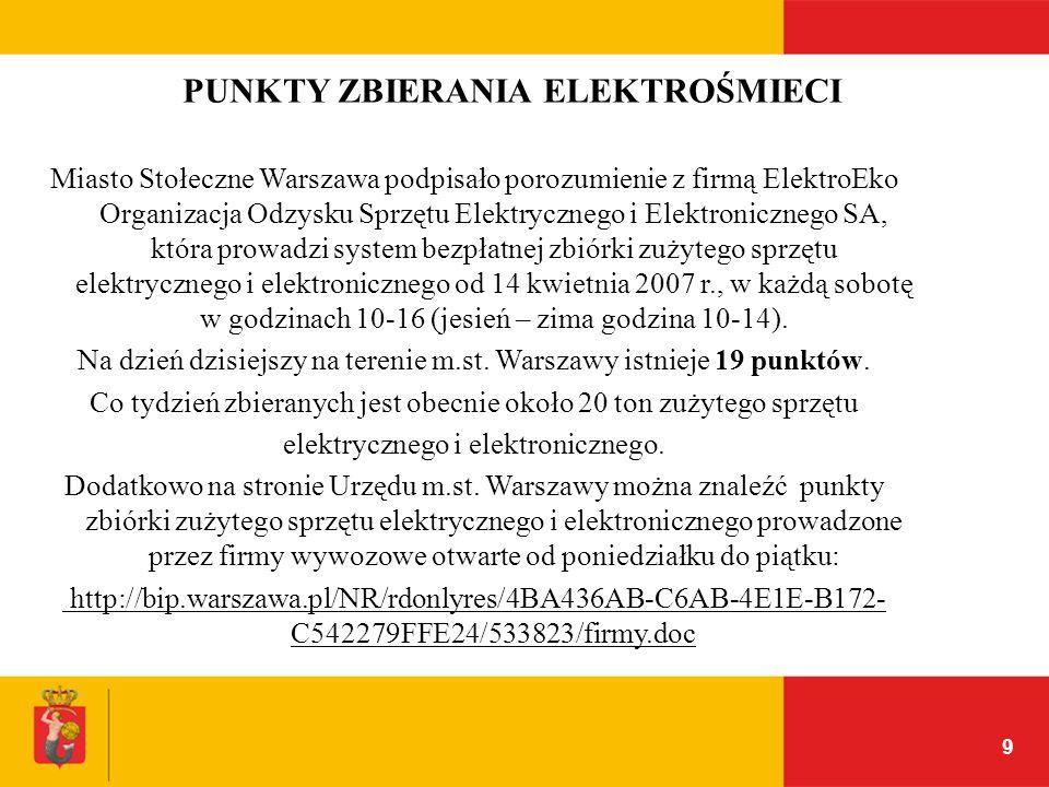 9 Miasto Stołeczne Warszawa podpisało porozumienie z firmą ElektroEko Organizacja Odzysku Sprzętu Elektrycznego i Elektronicznego SA, która prowadzi s