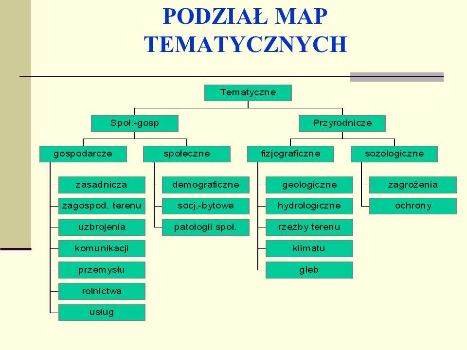 Mapy tematyczne Mapy tematyczne są opracowaniami kartograficznymi eksponującymi jeden lub kilka wybranych elementów treści ogólnogeograficznej, bądź określone zagadnienia społeczno - gospodarcze lub przyrodnicze.