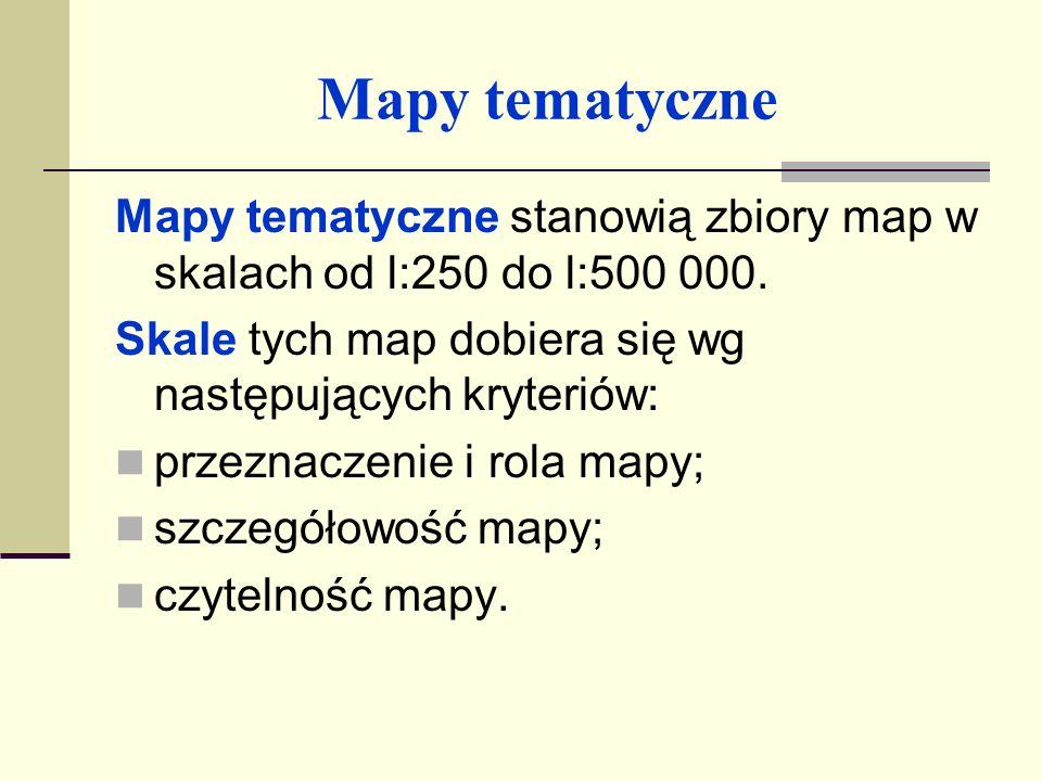 Mapy tematyczne W skład podstawowych elementów opisu mapy tematycznej wchodzą: tytuł mapy określający rodzaj mapy oraz nazwę obszaru; skala mapy; wykaz znaków umownych z objaśnieniami; kwalifikacja mapy pod względem zabezpieczenia tajemnicy;