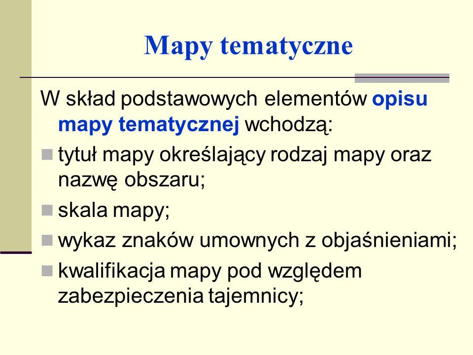 Mapy tematyczne nazwa instytucji opracowującej i wydającej daną mapę; imię i nazwisko redaktora mapy; rodzaj materiału źródłowego podstawowego oraz datę aktualności; data ukończenia opracowania mapy; rok wydania mapy.
