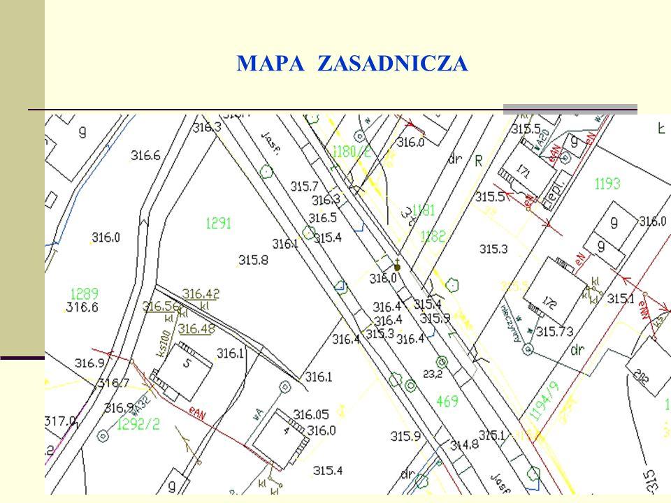 CECHY MAPY ZASADNICZEJ Skala zależy od stopnia nasycenia budowli i urządzeń inżynierskich na danym terenie (instrukcja GUGiK – O2).