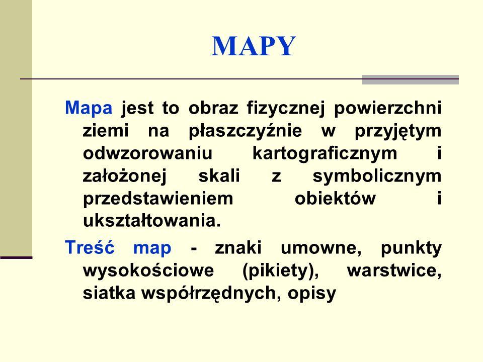 Dokładność mapy Dokładność mapy zależy od skali, odwzorowania i dokładności wykonanych pomiarów.