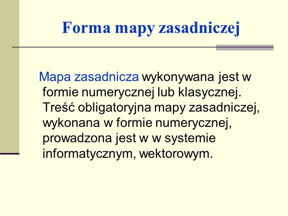 Forma mapy zasadniczej Treść mapy zasadniczej przedstawia poprzez system nakładek tematycznych informacje: E - nakładka ewidencji gruntów i budynków; U - nakładka sieci uzbrojenia terenu; S - nakładka sytuacji powierzchniowej (inne obiekty trwale związane z terenem); W - nakładka rzeźby terenu (wysokościowa); R - nakładka realizacyjnych uzgodnień projektowych.