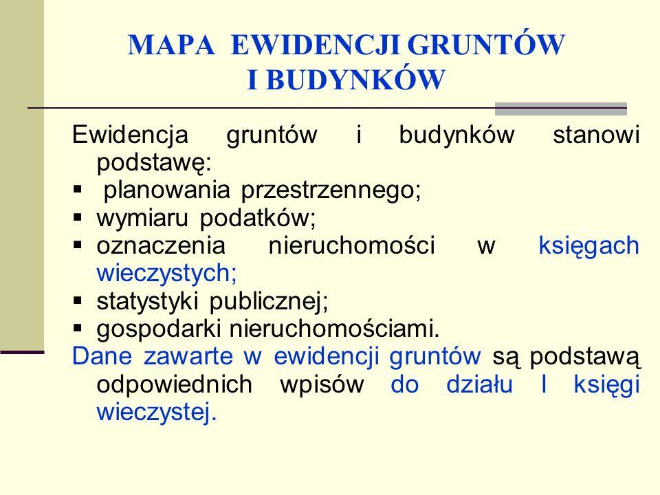 MAPA EWIDENCJI GRUNTÓW I BUDYNKÓW Informacje o gruntach, budynkach i lokalach zawiera operat ewidencyjny, który składa się z: map; rejestrów; dokumentów uzasadniających wpisy do tych rejestrów.