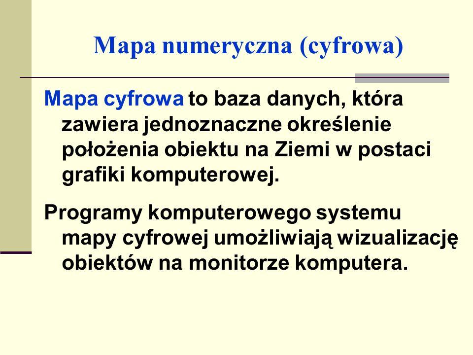Mapa numeryczna Najczęściej używane systemy mapy numerycznej w Polsce: AutoCad Map; Microstation, zawierające moduły dla branży inżynierii lądowej i architektury; EwMapa, GeoSET, TerraBit, Geo-Map, GeoGraphics, GEOMedia..