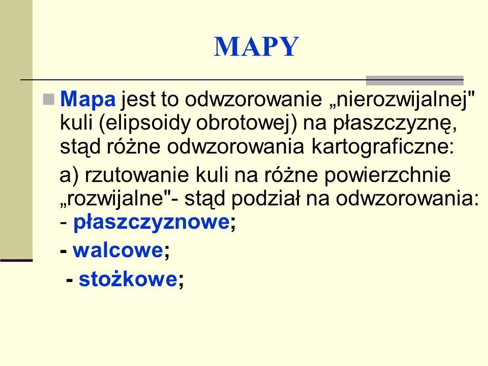 MAPY b) podział ze względu na położenie powierzchni odwzorowania: - normalne; - poprzeczne; - ukośne; c) podział ze względu na zniekształcenia (lub ich brak) - odwzorowania: - równokątne (wiernokątne); - równopowierzchniowe; - równoodległościowe.