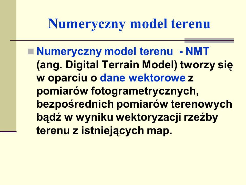 Numeryczny model terenu Utworzony model terenu pozwala na: - automatyczne generowanie profili podłużnych i poprzecznych; - obliczanie objętości gruntu (robót ziemnych), - tworzenie map warstwicowych, - różnego rodzaju wizualizacje i analizy.