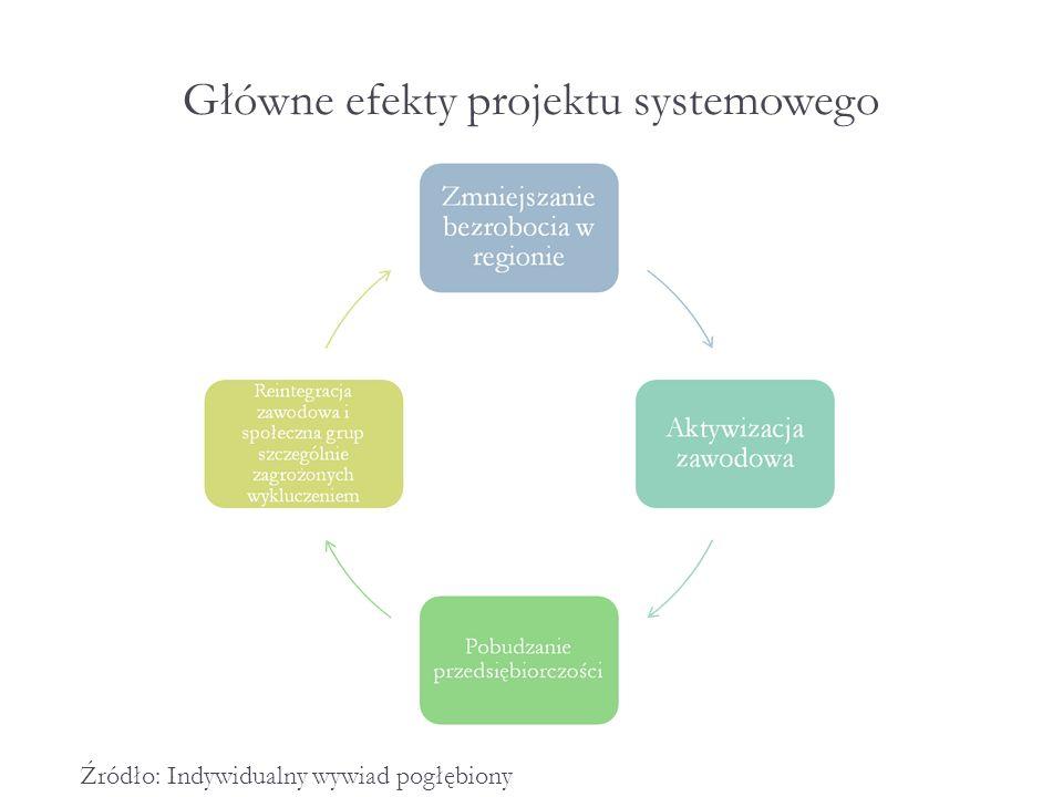 Główne efekty projektu systemowego Źródło: Indywidualny wywiad pogłębiony