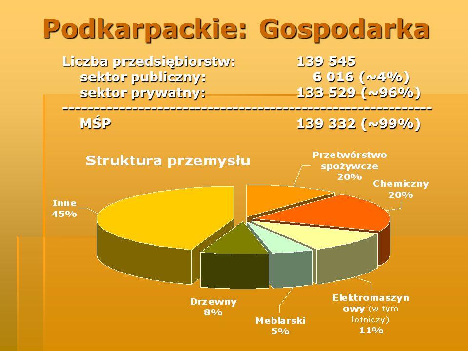Podkarpackie: Gospodarka Liczba przedsiębiorstw: 139 545 sektor publiczny: 6 016 (~4%) sektor publiczny: 6 016 (~4%) sektor prywatny: 133 529 (~96%) s