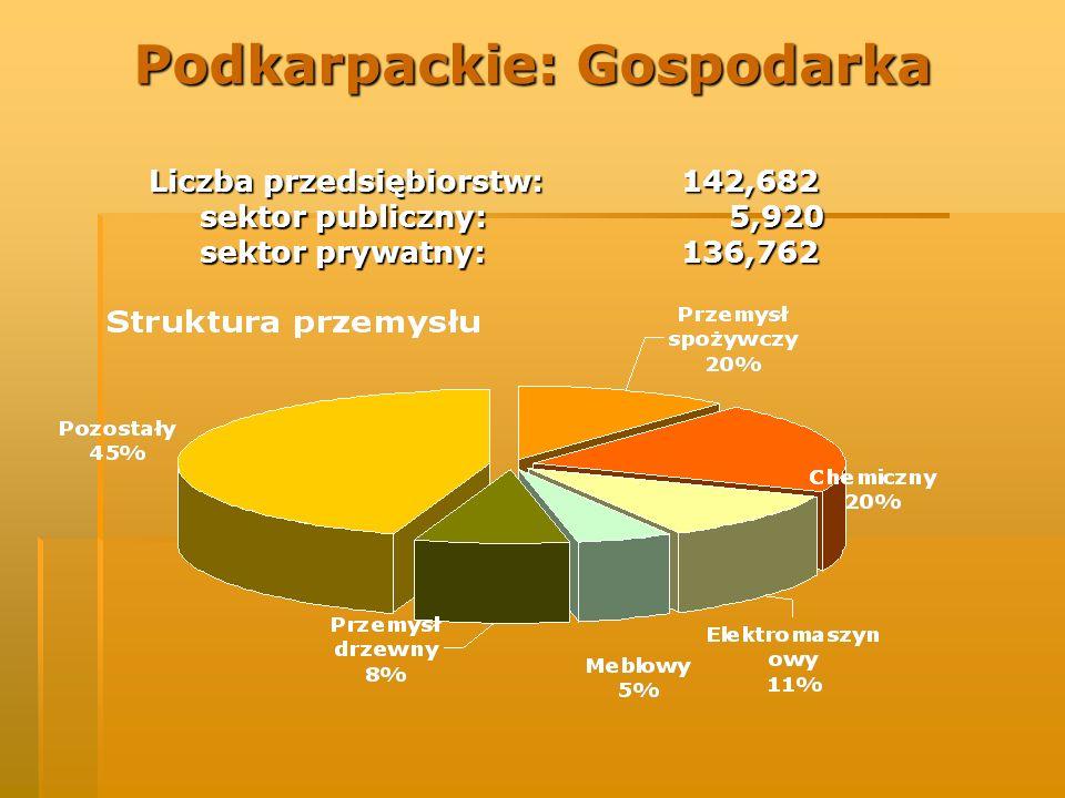 Podkarpackie: Gospodarka Liczba przedsiębiorstw: 142,682 sektor publiczny: 5,920 sektor publiczny: 5,920 sektor prywatny: 136,762 sektor prywatny: 136