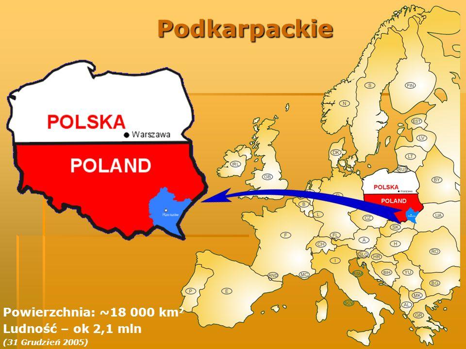 Podkarpackie: Infrastruktura Ważne szlaki komunikacyjne: Ważne szlaki komunikacyjne: Droga krajowa Nr 4 (E-40) Droga krajowa Nr 4 (E-40) Droga krajowa Nr 9 (E- 371) Droga krajowa Nr 9 (E- 371) Droga krajowa Nr 19 Droga krajowa Nr 19 Magistrala kolejowa E-30 Magistrala kolejowa E-30 20 przejść granicznych z Ukrainą i Słowacją (poniżej 2 h jazdy) 20 przejść granicznych z Ukrainą i Słowacją (poniżej 2 h jazdy) Port lotniczy Rzeszów- Jasionka przystosowany do międzynarodowego ruchu pasażerskiego Port lotniczy Rzeszów- Jasionka przystosowany do międzynarodowego ruchu pasażerskiego Główne miasta regionu: Główne miasta regionu: Rzeszów (~160 tys.