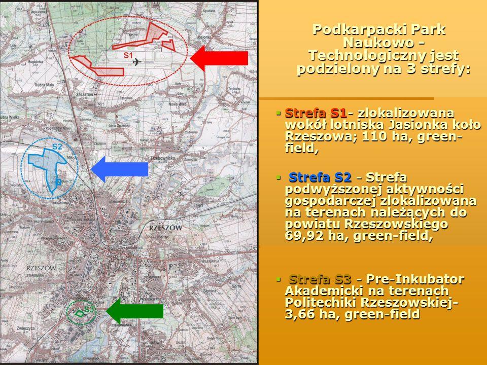 Podkarpacki Park Naukowo - Technologiczny jest podzielony na 3 strefy: Strefa S1- zlokalizowana wokół lotniska Jasionka koło Rzeszowa; 110 ha, green-