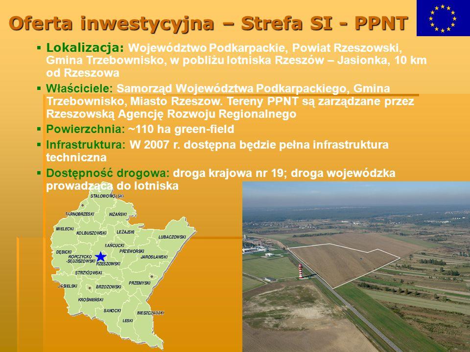 Oferta inwestycyjna – Strefa SI - PPNT Lokalizacja: Województwo Podkarpackie, Powiat Rzeszowski, Gmina Trzebownisko, w pobliżu lotniska Rzeszów – Jasi