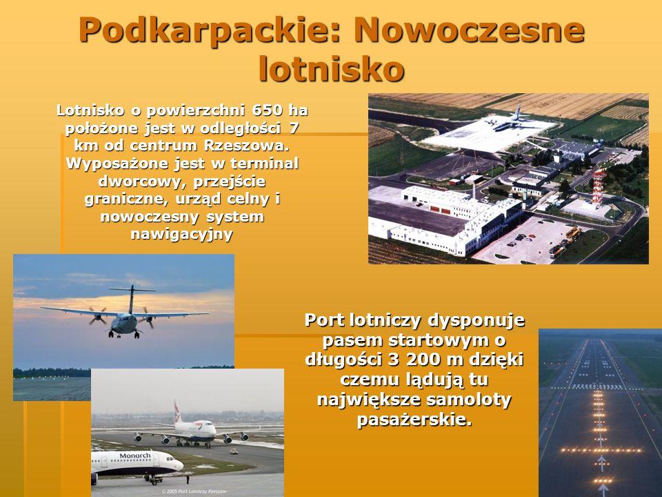 Podkarpackie: Nowoczesne lotnisko Lotnisko o powierzchni 650 ha położone jest w odległości 7 km od centrum Rzeszowa. Wyposażone jest w terminal dworco