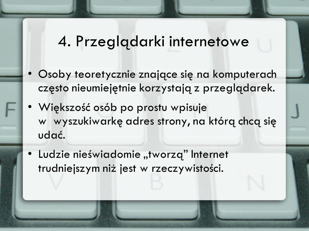 4. Przeglądarki internetowe Osoby teoretycznie znające się na komputerach często nieumiejętnie korzystają z przeglądarek. Większość osób po prostu wpi