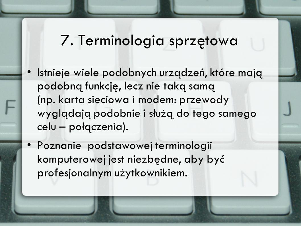 7. Terminologia sprzętowa Istnieje wiele podobnych urządzeń, które mają podobną funkcję, lecz nie taką samą (np. karta sieciowa i modem: przewody wygl