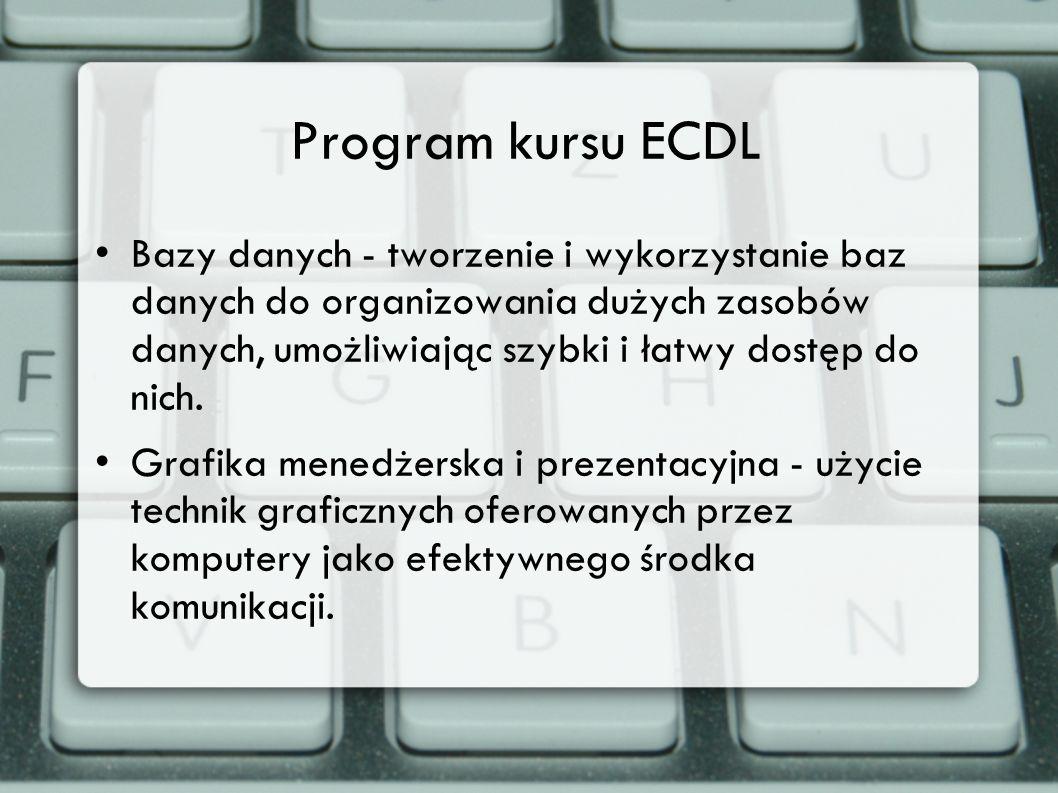 Program kursu ECDL Bazy danych - tworzenie i wykorzystanie baz danych do organizowania dużych zasobów danych, umożliwiając szybki i łatwy dostęp do ni