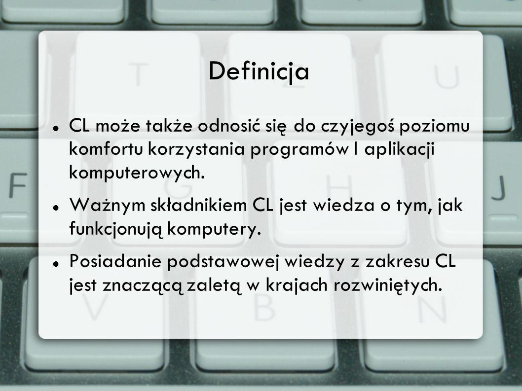 Definicja CL może także odnosić się do czyjegoś poziomu komfortu korzystania programów I aplikacji komputerowych. Ważnym składnikiem CL jest wiedza o