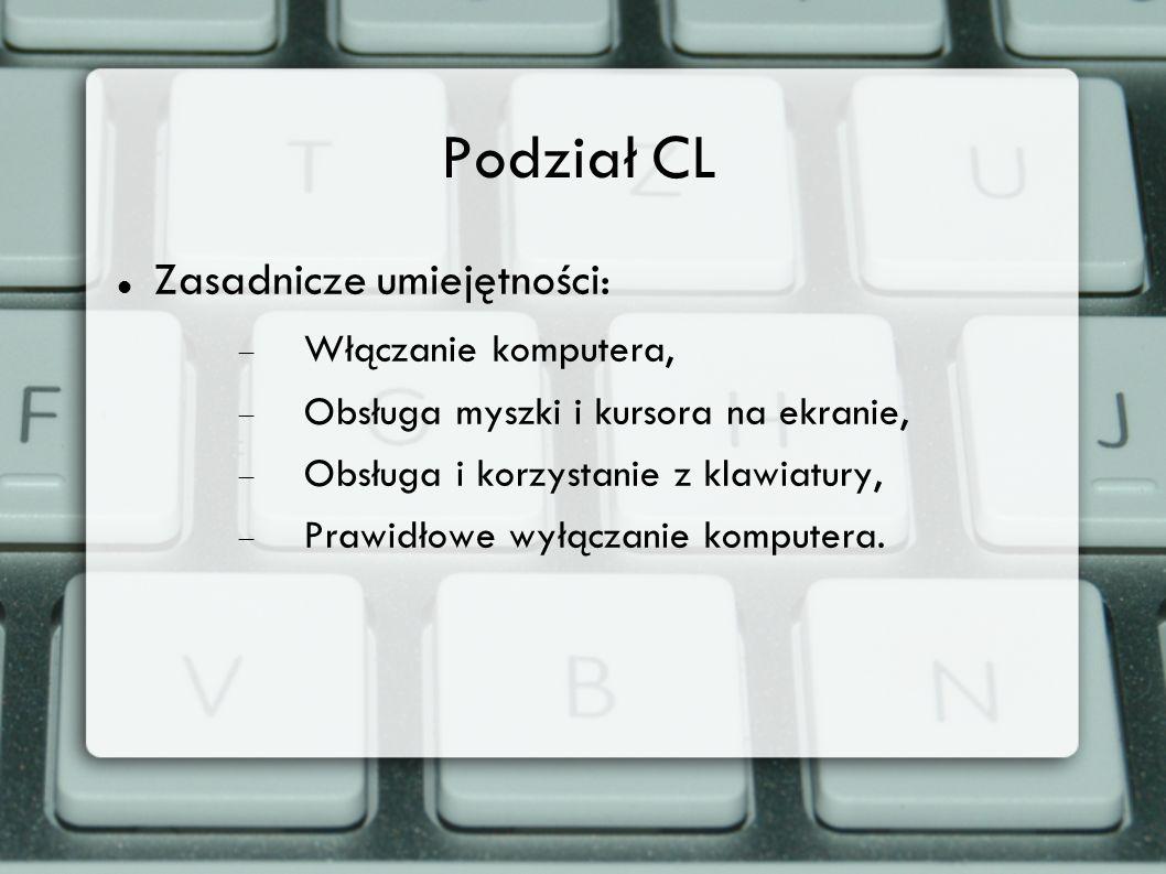 Podział CL Zasadnicze umiejętności: Włączanie komputera, Obsługa myszki i kursora na ekranie, Obsługa i korzystanie z klawiatury, Prawidłowe wyłączani