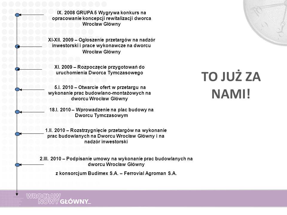 IX. 2008 GRUPA 5 Wygrywa konkurs na opracowanie koncepcji rewitalizacji dworca Wrocław Główny XI-XII. 2009 – Ogłoszenie przetargów na nadzór inwestors