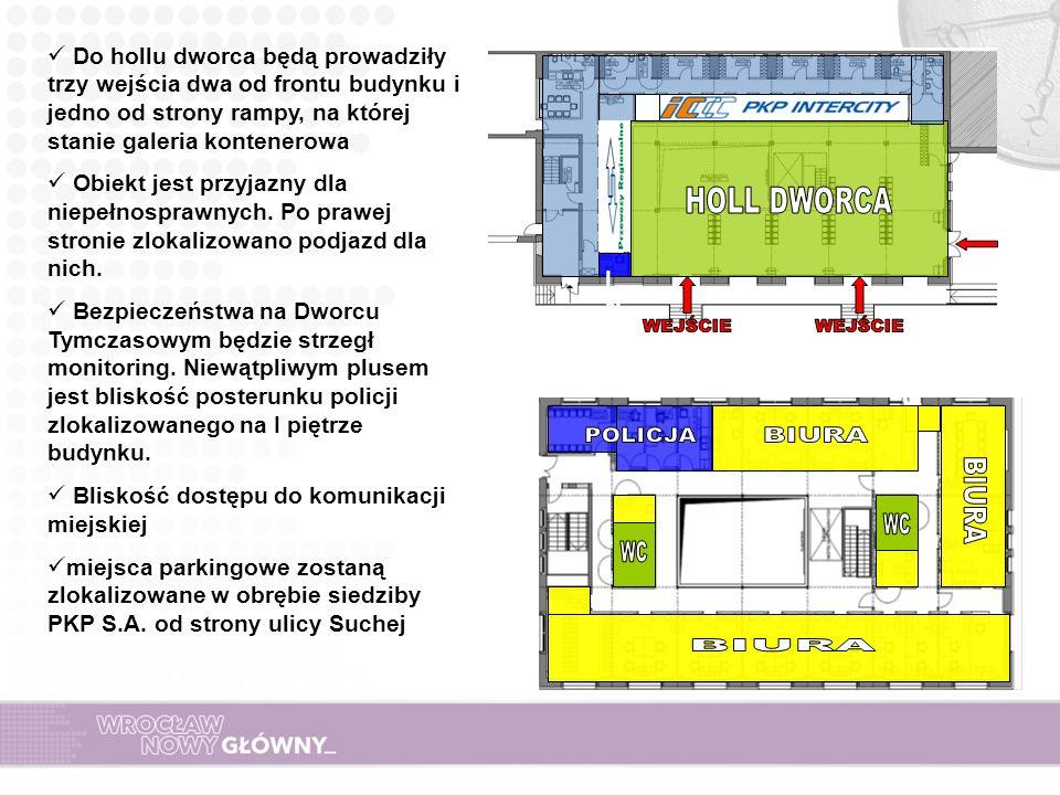 Do hollu dworca będą prowadziły trzy wejścia dwa od frontu budynku i jedno od strony rampy, na której stanie galeria kontenerowa Obiekt jest przyjazny dla niepełnosprawnych.