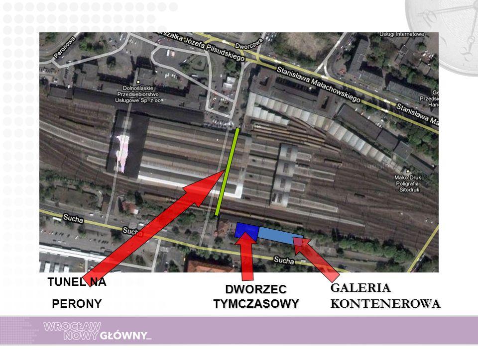 DWORZEC TYMCZASOWY TUNEL NA PERONY GALERIA KONTENEROWA